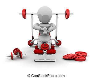 Weight lifting - 3D render of someone with gym equipment