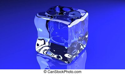 Ice Cube - 3D rendered animation A turning Ice cube