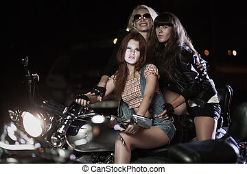 Biker girls - Portrait of biker girls with motorcycle