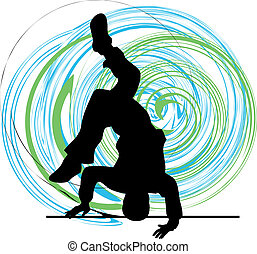 Breakdancer dancing on hand stand silhouette. Vector...