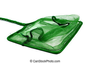 Fish Net - Isolated green fish net used for aquariums at...