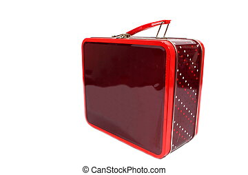 Metal Lunch Box - Isolated burgundy and red metal lunch box...