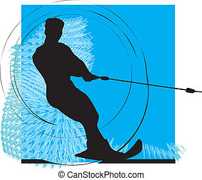 Water skiing man vector illustration