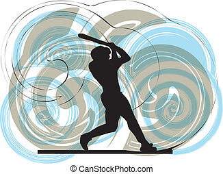 Base-ball, joueur, action, vecteur