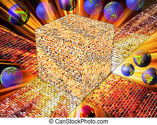 cube - A cube of precious golden stones with globes by light