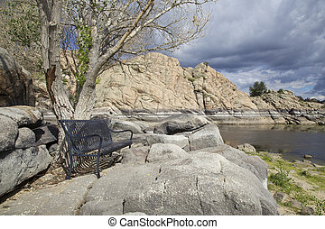 Willow lake Prescott AZ - the granite rock formations along...