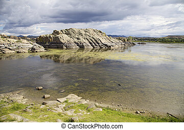 Willow Lake Prescott AZ - storm clouds provide a dramatic...