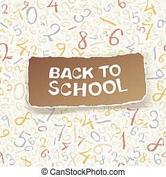 Back to school on chaotic numbers seamless pattern. Vector,...