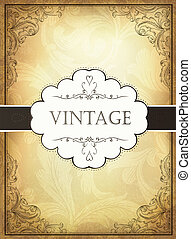 Vintage background with ornamental frame. Vector...