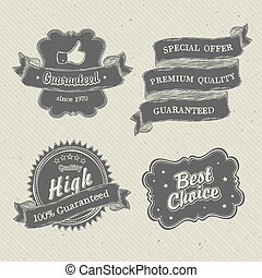 Vintage hand-drawn labels collection on textured paper....