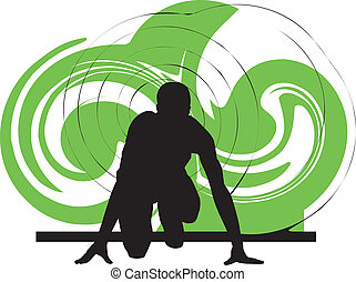 Runner in start position, Vector illustration