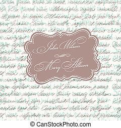 Wedding invitation vintage card. Vector, EPS10