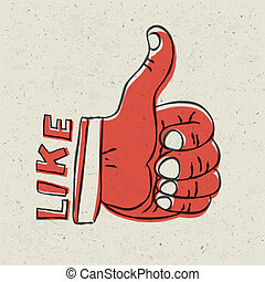 Thumb up symbol. Retro styled vector illustration, EPS10