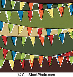 Party pennant bunting. Happy holiday background, vector,...
