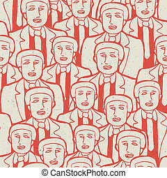 Abstract crowd of business men's. Seamless pattern, vector...