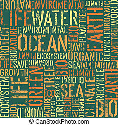 Nature words seamless pattern.