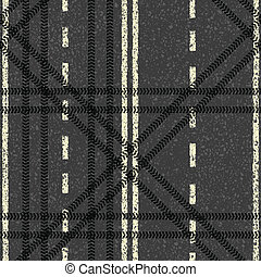 Seamless road theme pattern. Vector background, EPS8
