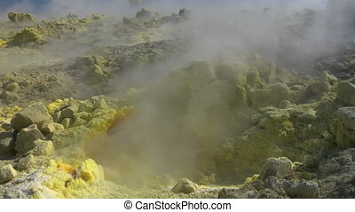 Vulcano fumarole close up 02 - Sulfurous fumaroles, Vulcano,...