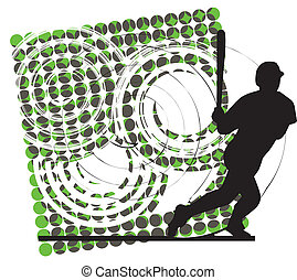 Baseball player in action. Vector