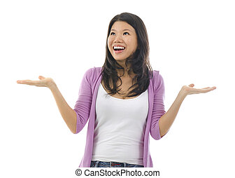 Surprising - Happy Asian woman open her arms with surprising...