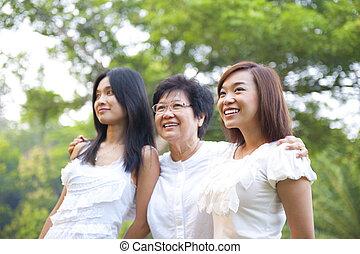 Outdoor Asian family having fun