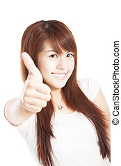 smiling young woman with thumbs up