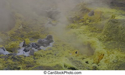 Vulcano fumarole close up 04 - Sulfurous fumaroles, Vulcano,...