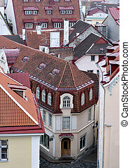 Tallinn Old Town - High angle view of roofs in the old town...