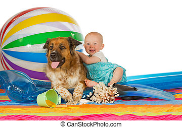 Adorable baby with dog - Adorable laughing little baby...