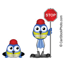 stop sign - Comical construction workers with stop sign...