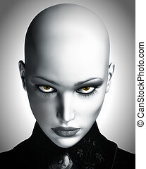 Ilustracja, piękny, łysy, futurystyczny, kobieta