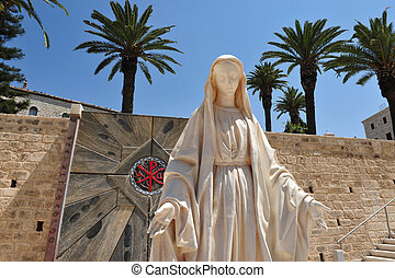 MIDEAST-ISRAEL-NAZARETH-TRAVEL-VACATION - Statue of the...