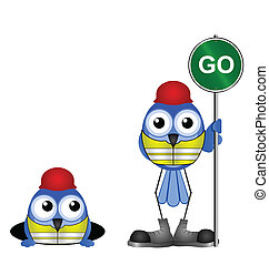 go sign - Comical construction workers with go sign isolated...