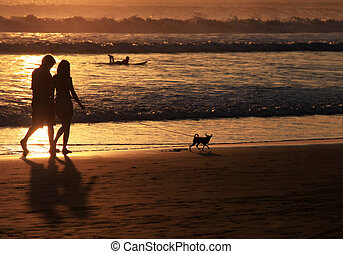 Couple on sunset - Couple with dog on sunset. Coast of the...