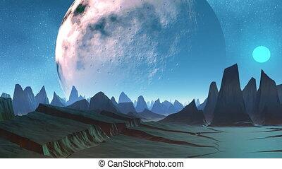 Huge planet and sharp peaks of moun - n the dark star sky...
