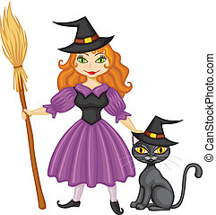 Witch with broom and kitty