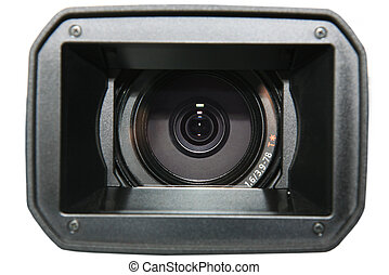 videocamera - Objective of a modern videocamera on a white...