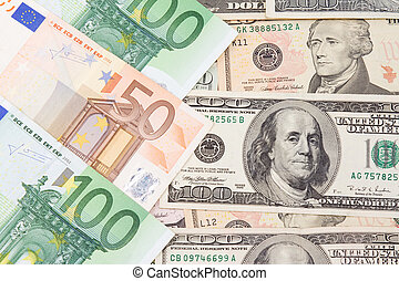 euro and dollar banknotes - set of euro and dollar banknotes