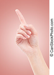 Hand with index finger, isolated on a beautiful background