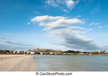 Alcudia - View from the beach in Alcudia on Majorca