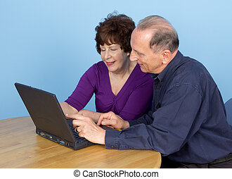 Elderly couple together using a laptop