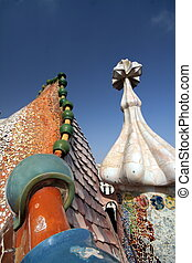 Gaudi Chimneys at Casa Mila - BARCELONA, DEC 9 Gaudi...