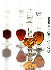 Bottles with perfume oils - Little glass bottles with arabic...