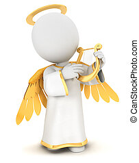 3d white people angel with gold wings and a lyre, isolated...