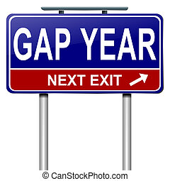 Gap year concept - Illustration depicting a roadsign with a...