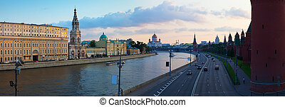 Panoramic view of Moscow in  evening
