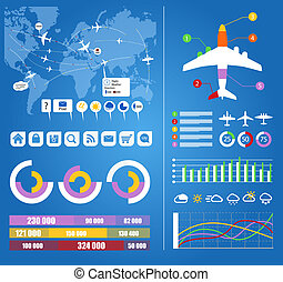 Flight infographics Civil airplanes trajectories on world...