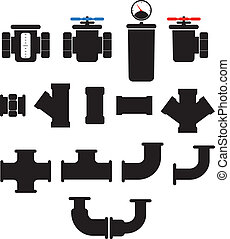 Water supply system elements vector collection Isolated on...