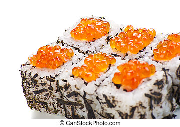 Japanese sushi with caviar on a white background