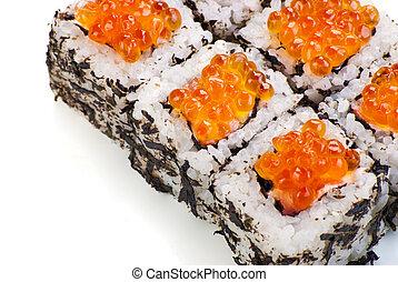 Traditional Japanese sushi on white background